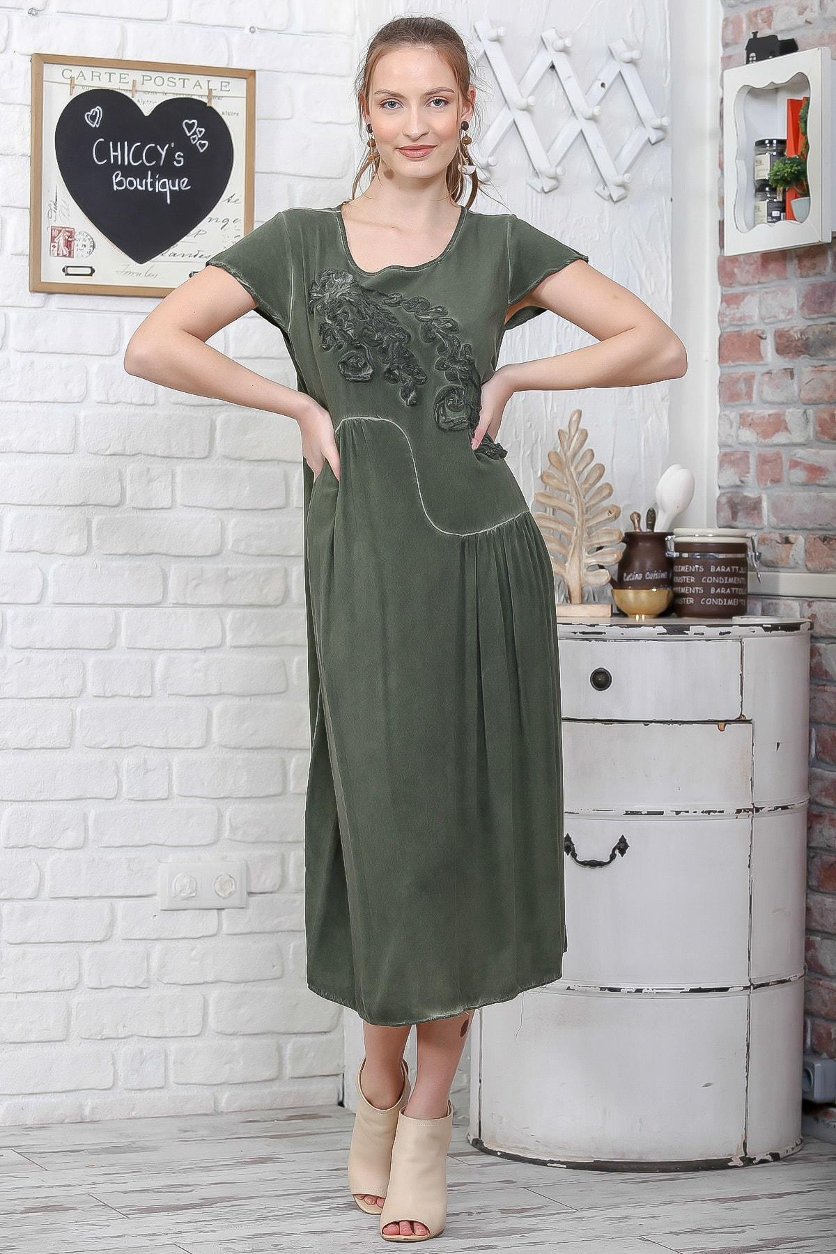 Chiccy Kadın Haki Sıfır Yaka Süzene Çiçek Aplikeli Salaş Yıkamalı Elbise M10160000EL95109 2