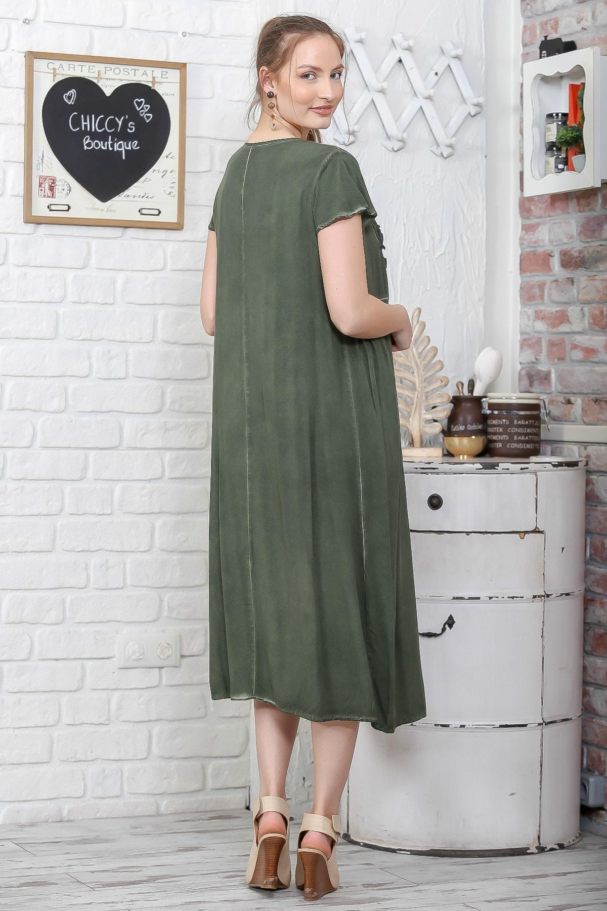 Chiccy Kadın Haki Sıfır Yaka Süzene Çiçek Aplikeli Salaş Yıkamalı Elbise M10160000EL95109 3
