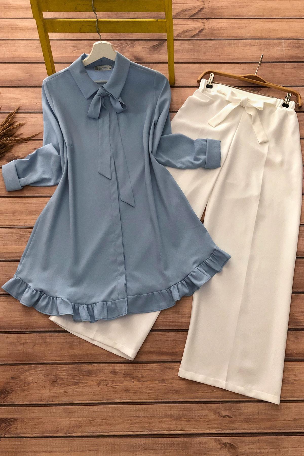 Kadın Mavi Kurdela Fırfır Detaylı Tunik Ve Pantolon