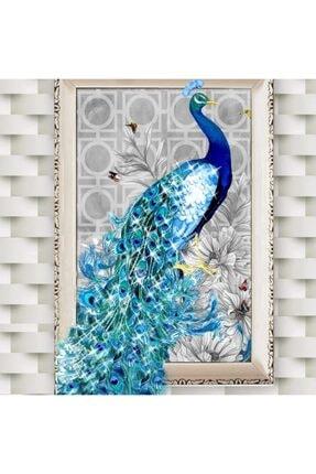 HONDEP 5d Sayılarla Elmas Boyama Tavus Kuşu-2 Diamond Painting Kit 30x40cm Dıy Mozaik Tuval Hobi Seti 2