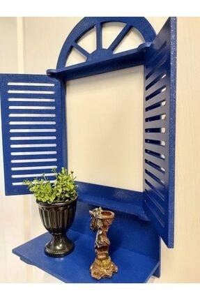 Dekorens Dekoratif Panjurlu Pencere Çiçeklik-el Boyama-mavi 1