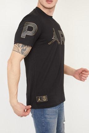 FORTY FOUR Erkek Siyah Regular Fit Baskılı T-shirt 2
