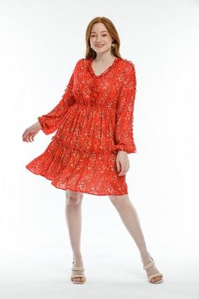 Kadın Kiremit Emprime Desenli Elbise 51108