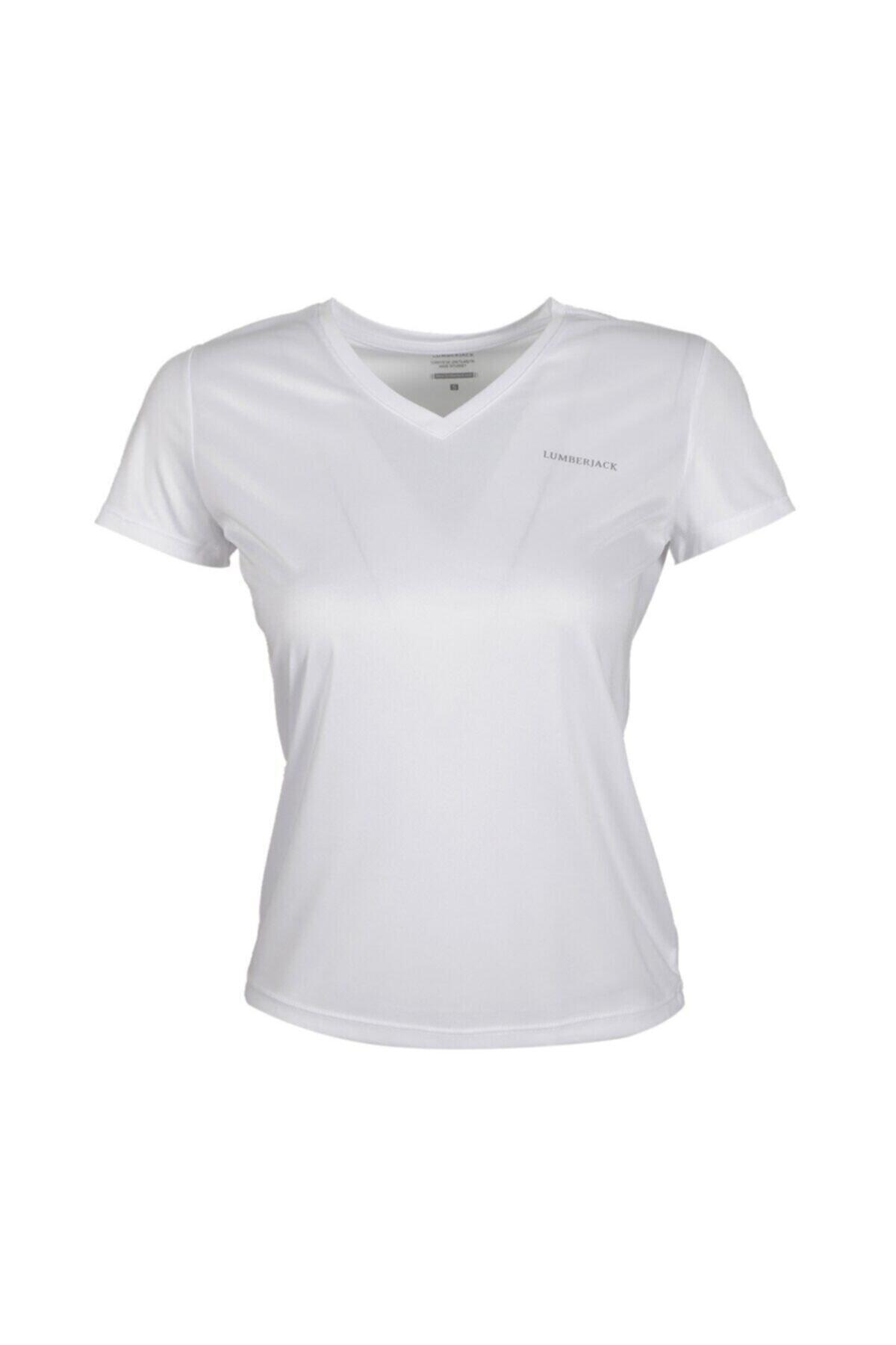 CT127 BASIC PES V NECK T- Beyaz Kadın T-Shirt 100581816