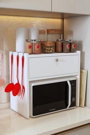 Bayz Tasarım Beyaz Tezgah Üstü Kapaklı Mikrodalga Fırın Raf Ekmek Dolabı 0