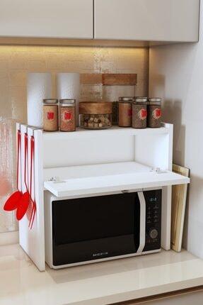 Bayz Tasarım Beyaz Tezgah Üstü Kapaklı Mikrodalga Fırın Raf Ekmek Dolabı 1