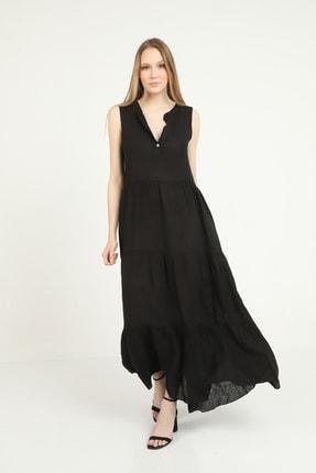 Kadın Italyan Keten Siyah Geniş Kesim Kolsuz Uzun Elbise 4510453