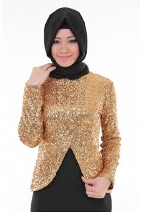 Nidya Moda Kadın Kahverengi Tesettür Dore Peplumlu Abiye Tunik 1