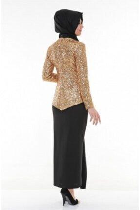 Nidya Moda Kadın Kahverengi Tesettür Dore Peplumlu Abiye Tunik 4