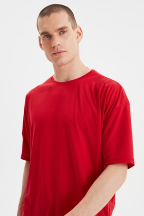 TRENDYOL MAN Kırmızı Basic Erkek Bisiklet Yaka Oversize Kısa Kollu T-Shirt TMNSS21TS0811 2