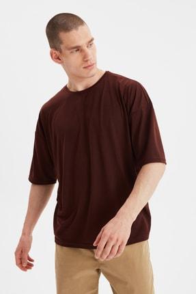 TRENDYOL MAN Kahverengi Basic Erkek Bisiklet Yaka Oversize Kısa Kollu T-Shirt TMNSS21TS0811 1