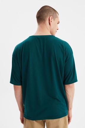 TRENDYOL MAN Zümrüt Yeşili Basic Erkek Bisiklet Yaka Oversize Kısa Kollu T-Shirt TMNSS21TS0811 3