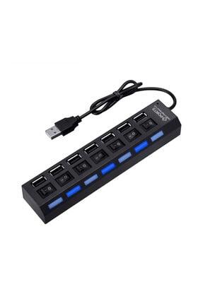 WOZLO 7 Port Usb Hub Çoklayıcı Çoğaltıcı On / Off Düğmeli Işıklı 1