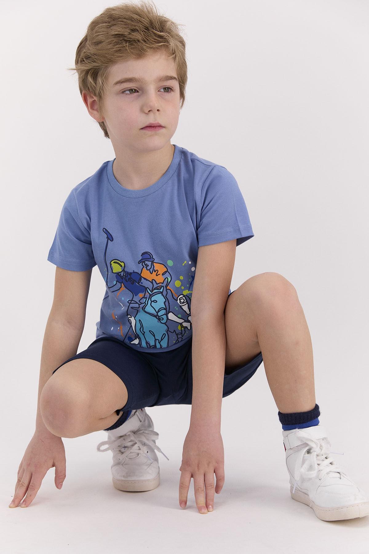 Erkek Çocuk İndigo Bermuda Takım