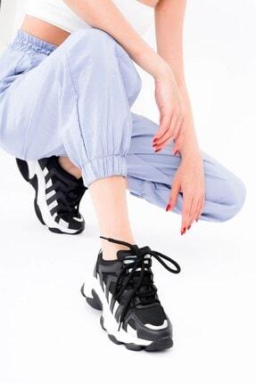 DİVOLYA Kadın Siyah Hologramlı Kalın Taban Bağcıklı Spor Ayakkabı 3