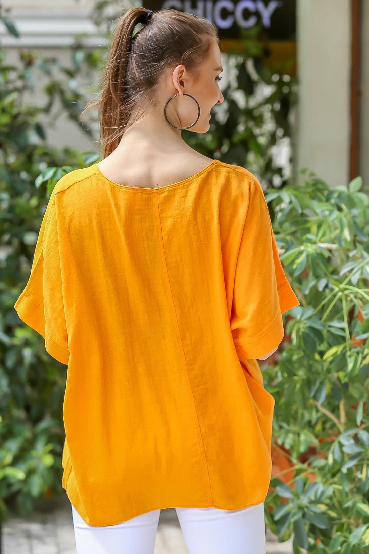 Chiccy Kadın Turuncu  Sıfır Yaka Yalı Çapkını Kuş Desenli Salaş Dokuma Bluz M10010200BL95418 4