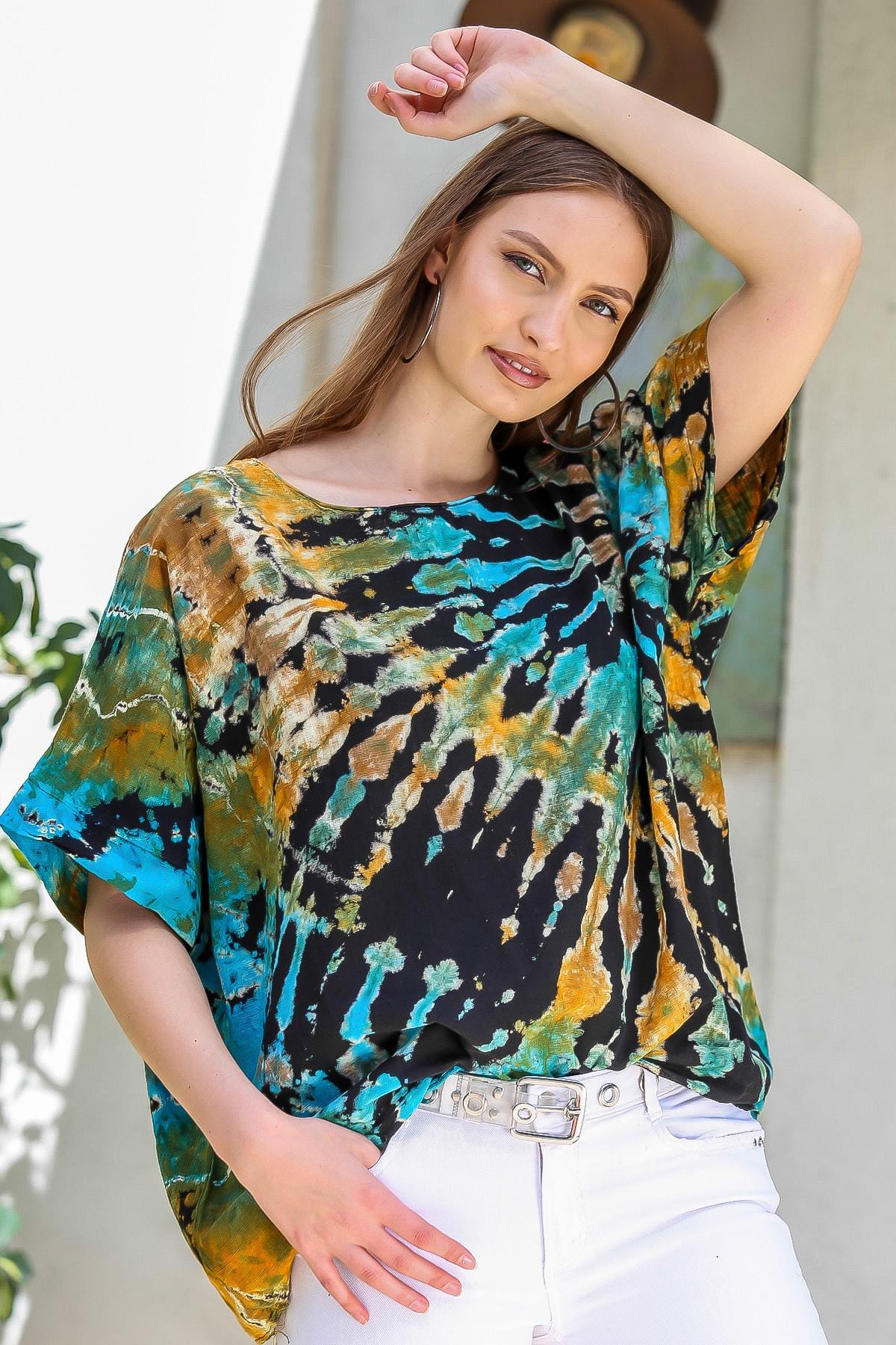 Chiccy Kadın Siyah-Mavi Sıfır Yaka Batik Desenli Dokuma Salaş Bluz M10010200BL95416 2