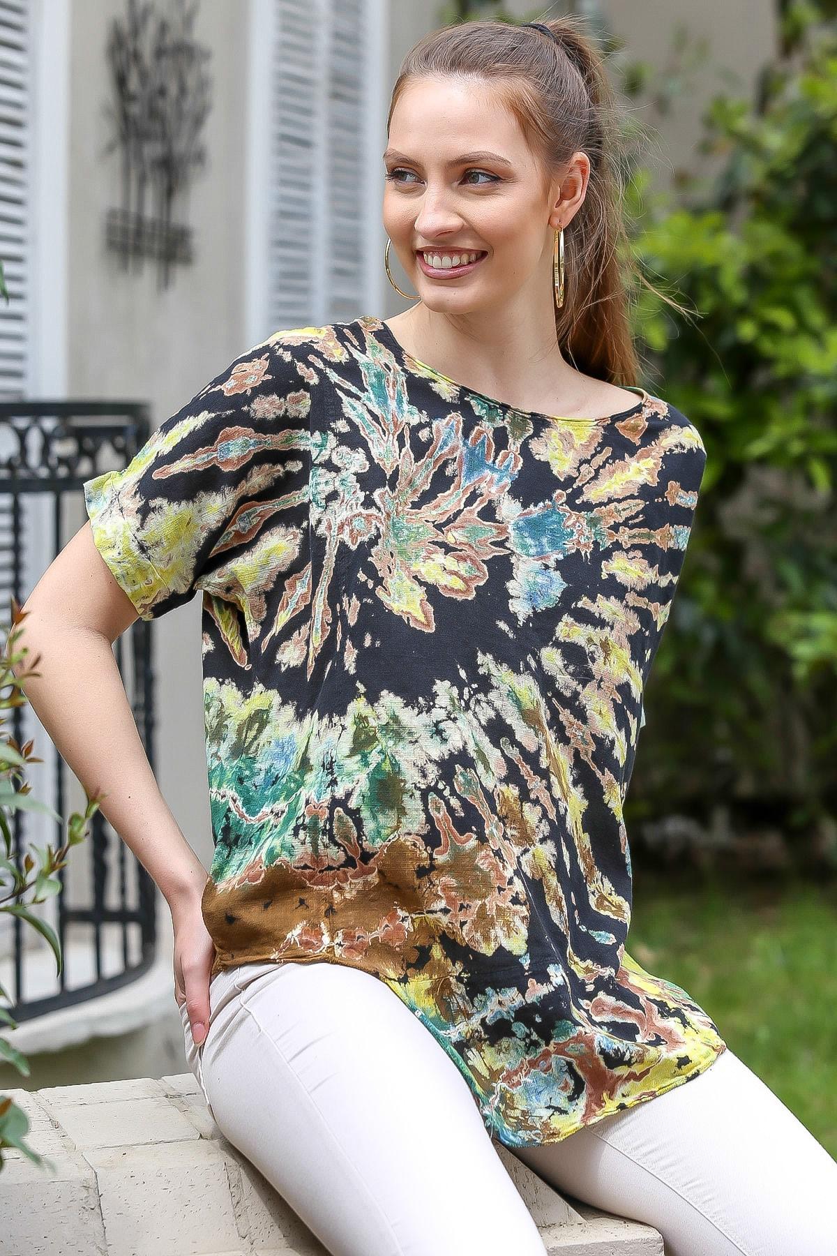 Chiccy Kadın Siyah-Bej Sıfır Yaka Batik Desenli Dokuma Salaş Bluz M10010200BL95416 1