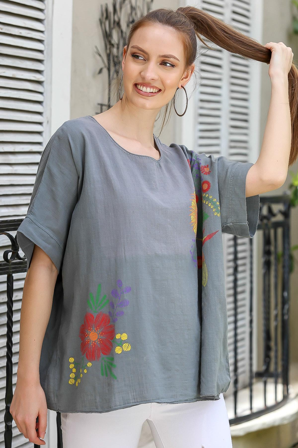 Chiccy Kadın Füme Sıfır Yaka Günebakan Çiçek Desenli Salaş Dokuma Bluz M10010200BL95412 2