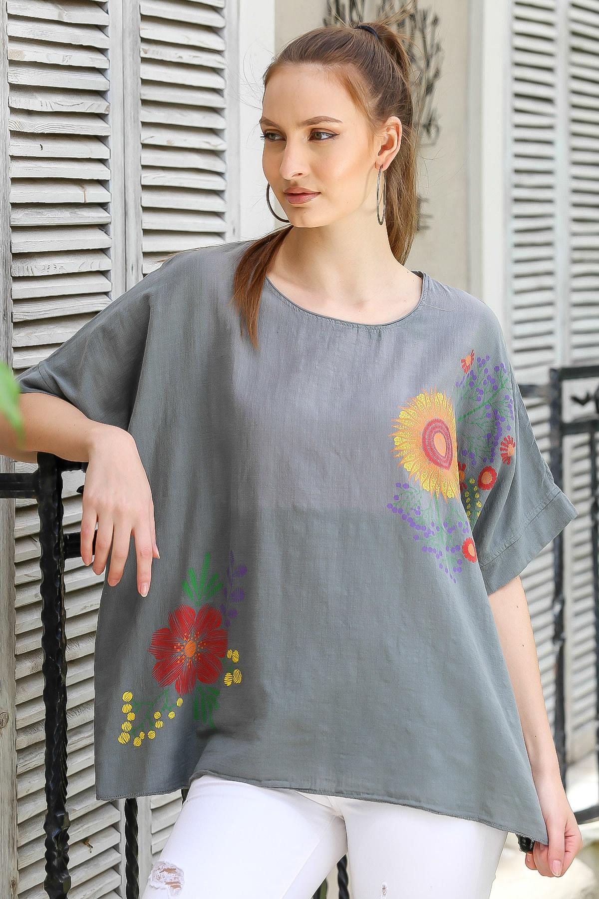 Chiccy Kadın Füme Sıfır Yaka Günebakan Çiçek Desenli Salaş Dokuma Bluz M10010200BL95412 3