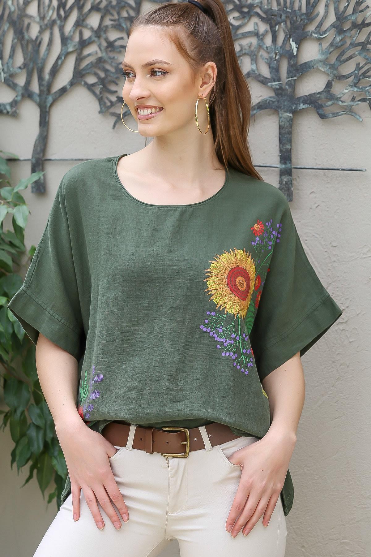 Chiccy Kadın Haki Sıfır Yaka Günebakan Çiçek Desenli Salaş Dokuma Bluz M10010200BL95412 2