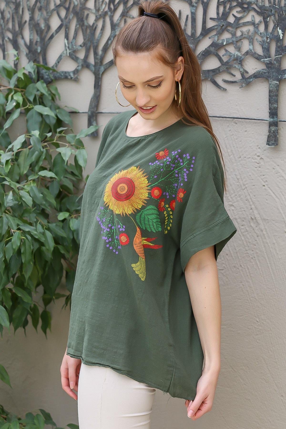 Chiccy Kadın Haki Sıfır Yaka Günebakan Çiçek Desenli Salaş Dokuma Bluz M10010200BL95412 3