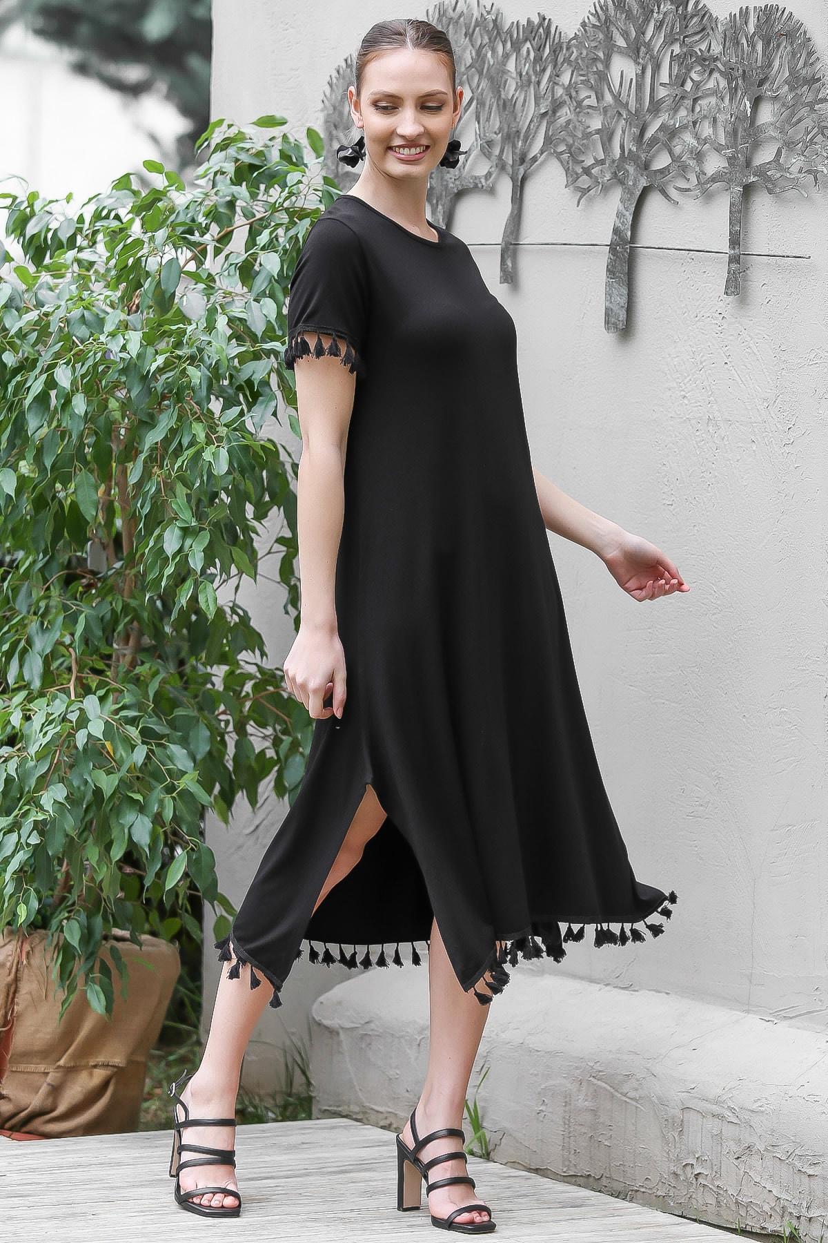 Chiccy Kadın Siyah Sıfır Yaka Kol Ve Etek Ucu Püsküllü Yırtmaçlı Elbise M10160000EL95067 1