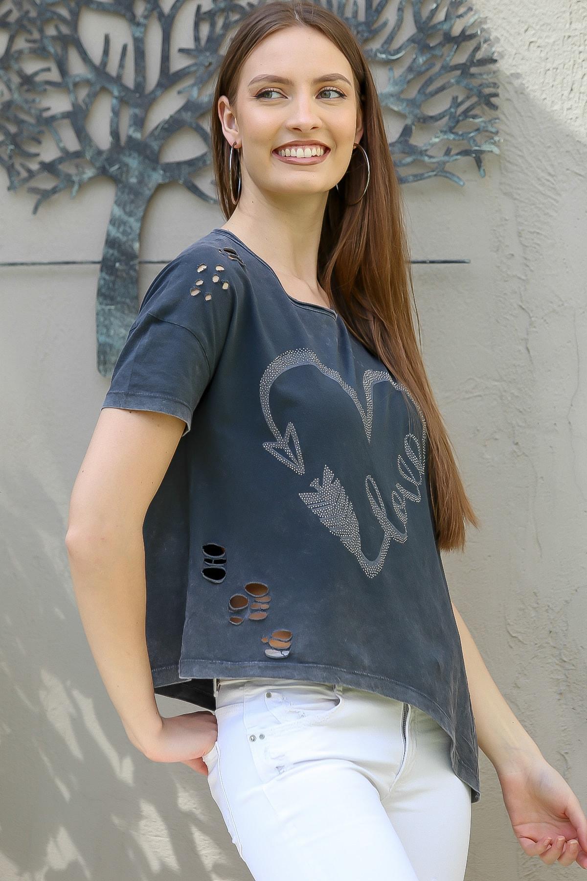 Chiccy Kadın Antrasit Love Kalp Baskılı Lazer Kesimli Asimetrik Yıkamalı T-Shirt M10010300TS98245 1