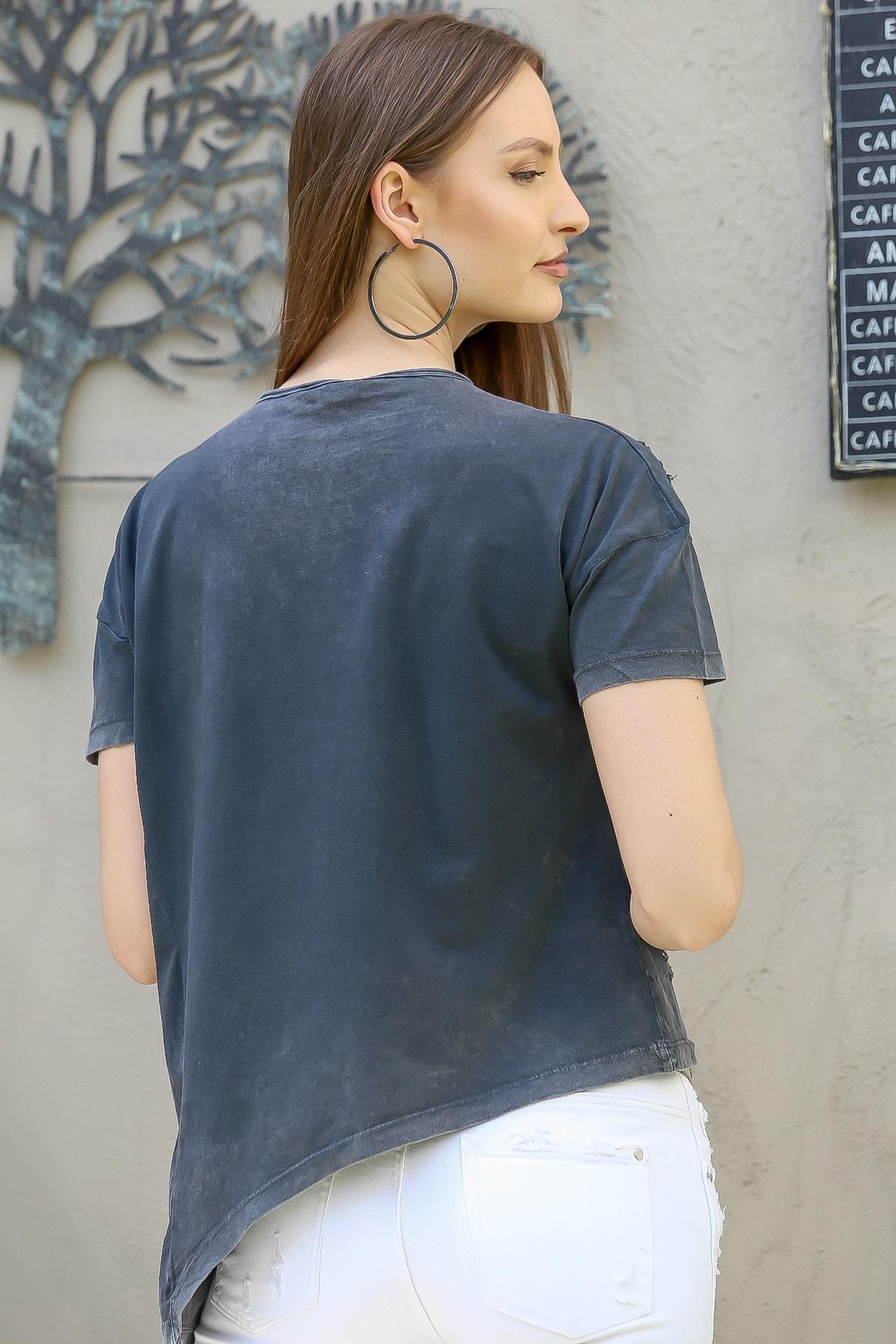 Chiccy Kadın Antrasit Love Kalp Baskılı Lazer Kesimli Asimetrik Yıkamalı T-Shirt M10010300TS98245 4