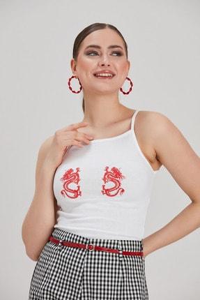 Kadın Beyaz Baskılı Crop Bluz YL-BL99514 resmi