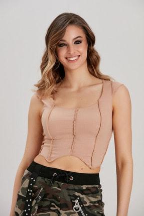 Kadın Bej Ters Dikişli Crop Bluz YL-BL99557 resmi