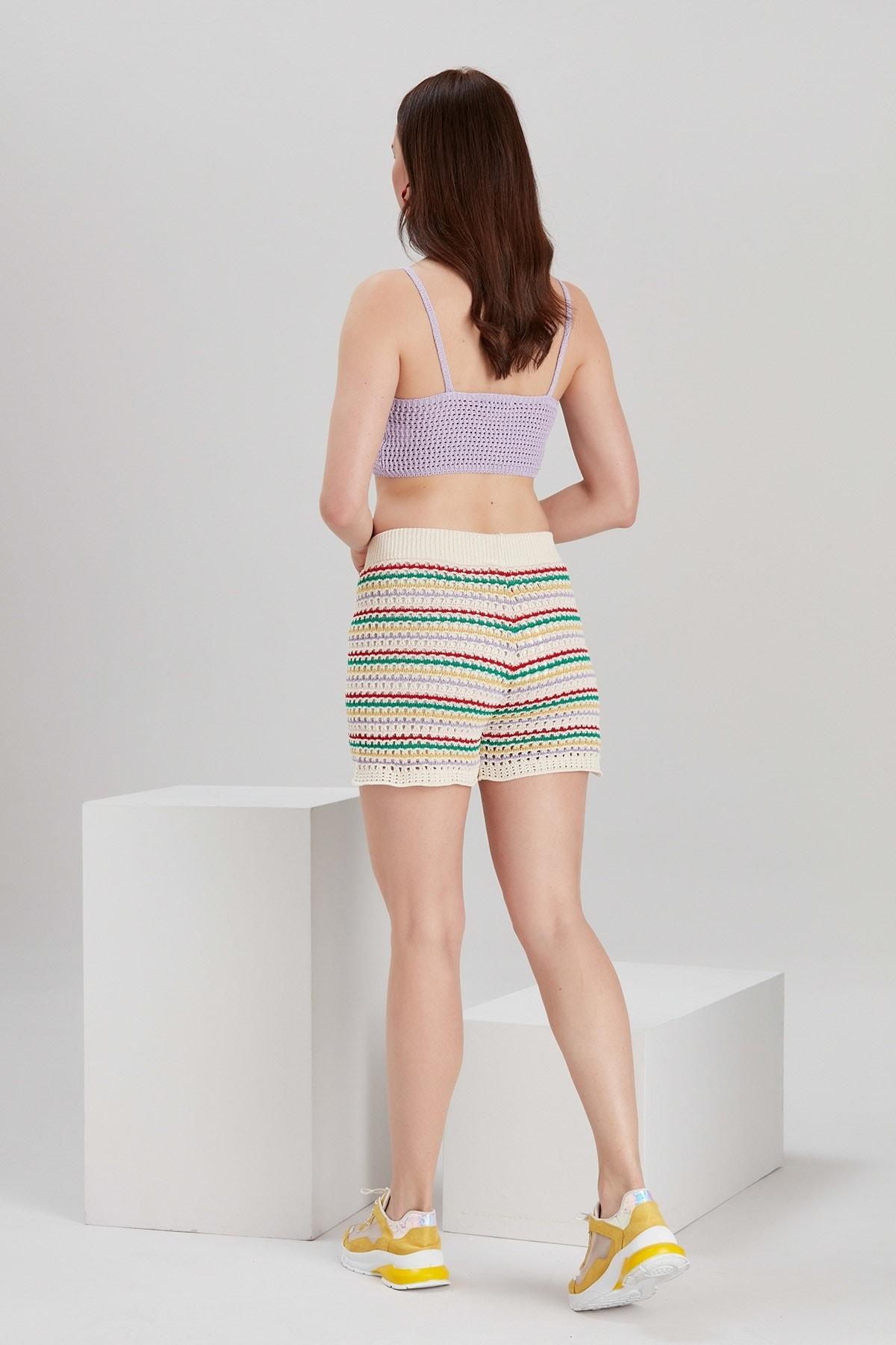 Y-London Kadın Mix Renkli Çizgili Örgü Şort YL-PN99749 4