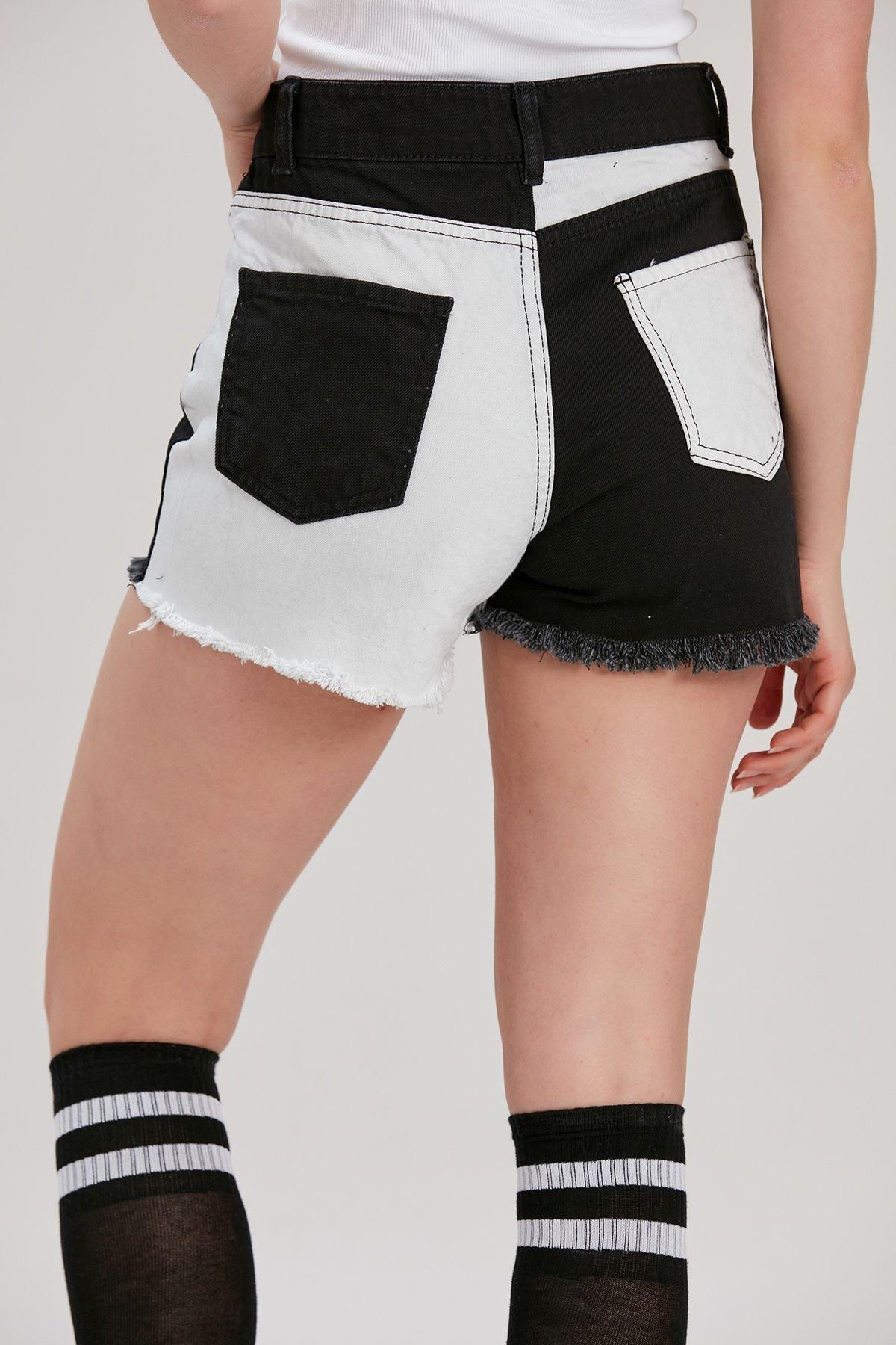 Y-London Kadın Siyah-Beyaz Renk Bloklu Kot Şort YL-PN99853 3