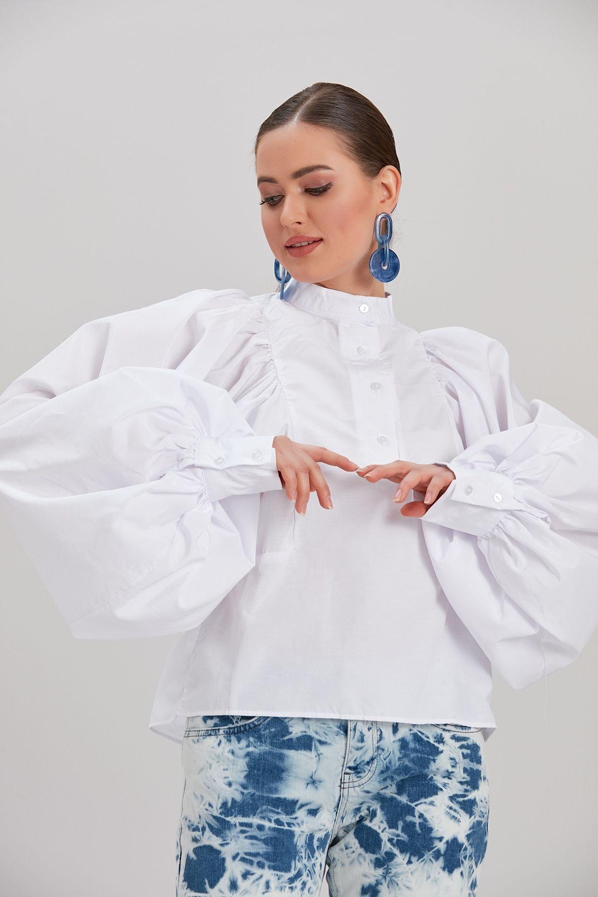 Kadın Beyaz Uzun Kollu Bluz YL-BL99838