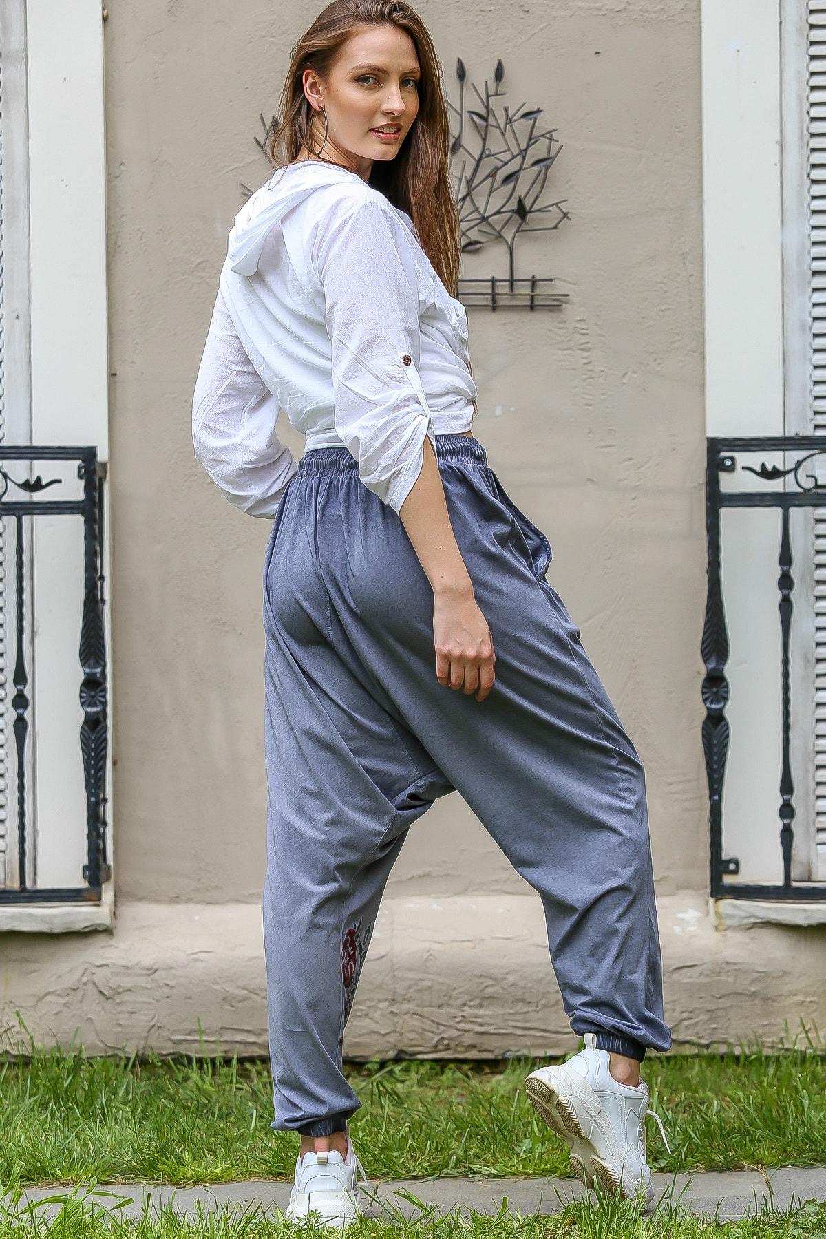 Chiccy Kadın Mavi Gül Baskılı Cepli Salaş Yıkamalı Şalvar Pantolon M10060000PN98860 4