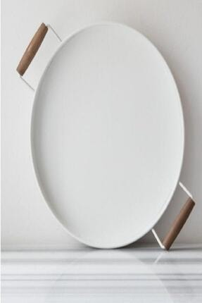 Bestofhome Beyaz Ahşap Kulplu Galvaniz Yuvarlak Tepsi 37 cm 1