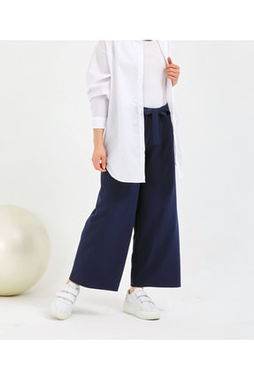 Gentekstil Kadın Lacivert  GenPlus Bel Lastikli Rahat Kesim Pantolon 0