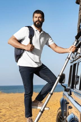 Altınyıldız Classics Erkek Beyaz Polo Yaka Cepsiz Slim Fit Dar Kesim %100 Koton Düz Tişört 0