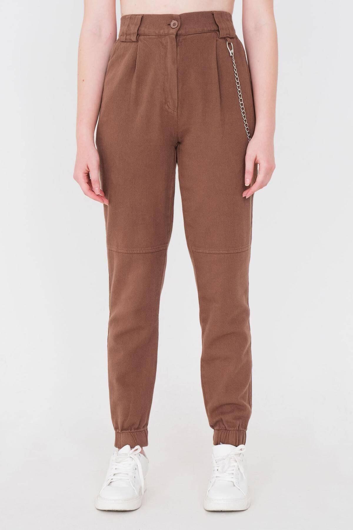 Addax Kadın Kahve Zincir Detaylı Pantolon Pn01-0073 - S11 Adx-0000024102 1