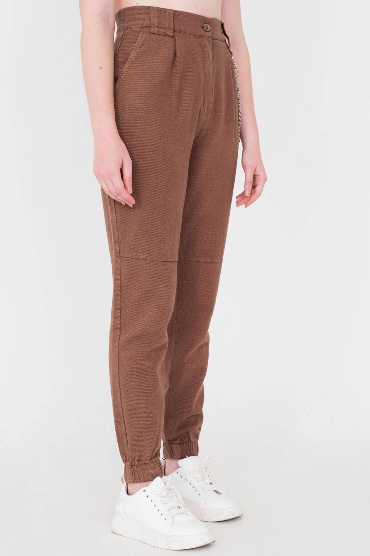 Addax Kadın Kahve Zincir Detaylı Pantolon Pn01-0073 - S11 Adx-0000024102 3