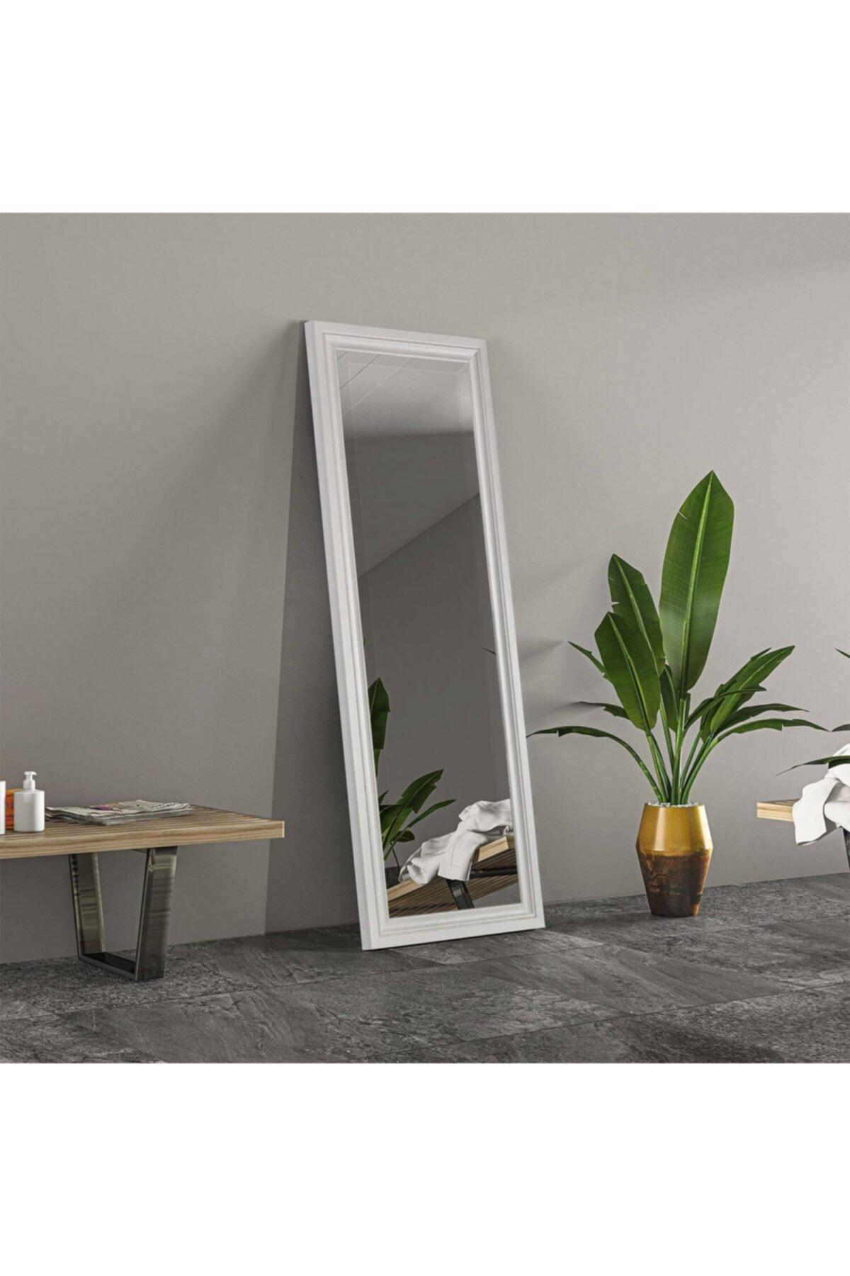 Beyaz Dekoratif Ayna Boy Aynası 120x45 cm