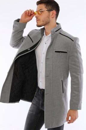 Erkek Gri Düğmeli Palto resmi