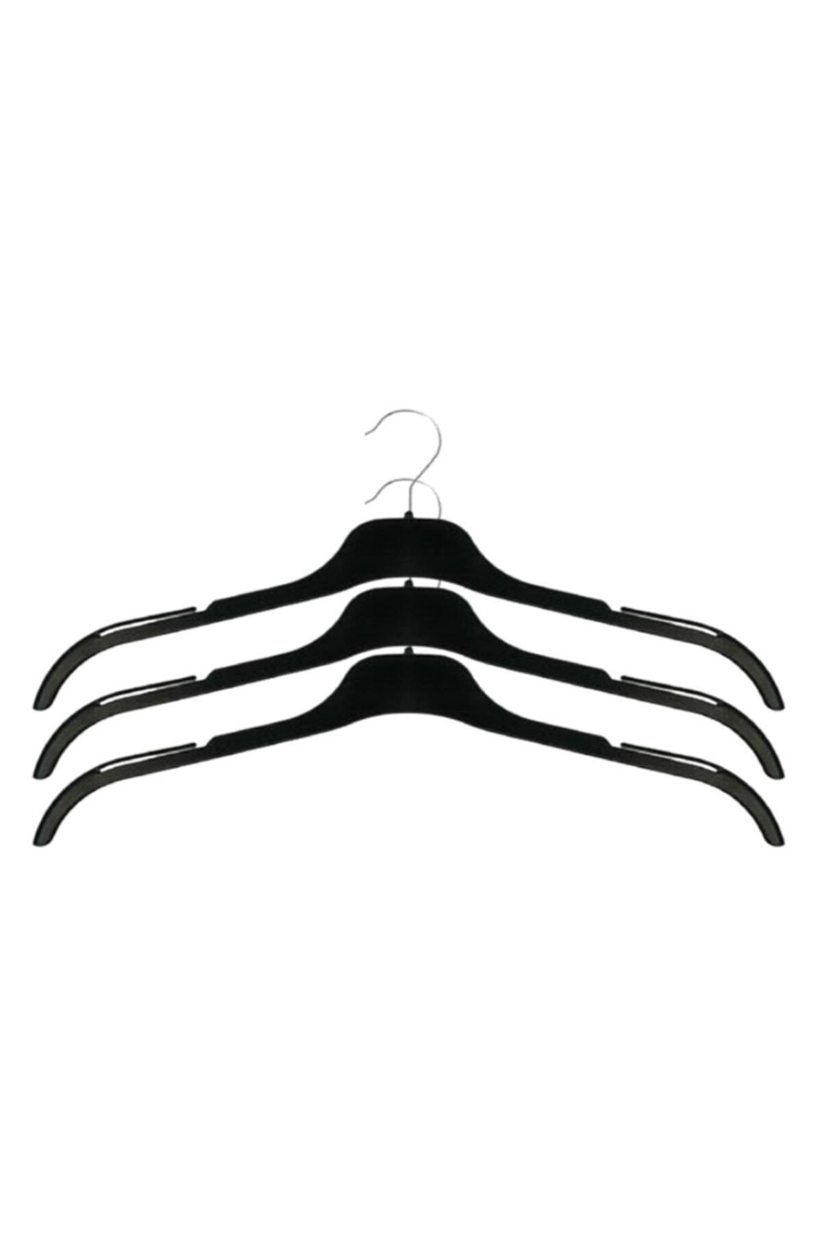 EZMK EV GEREÇLERİ Askı, Ec 43 Siyah Çentikli Tişört, Gömlek, Abiye Askısı Siyah 43 Cm (20 ADET)
