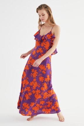TRENDYOLMİLLA Çiçek Desenli Volanlı Viskon Plaj Elbisesi TBESS19WY0004 0