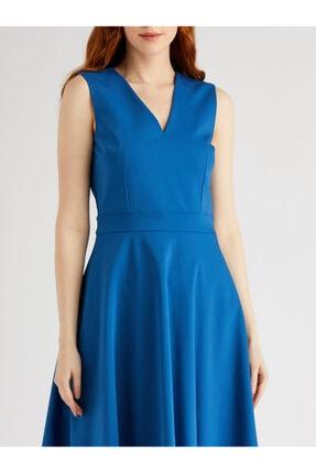 VKM Kadın Mavi V Yaka Rahat Kesim Elbise 3