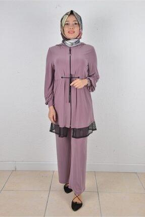 Kadın Kapüşonlu Tunik Ceket Pantolon Takım C2107