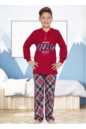 Picture of Erkek Çocuk Bordo Uzun Kollu Penye Ekoseli Pijama Takımı