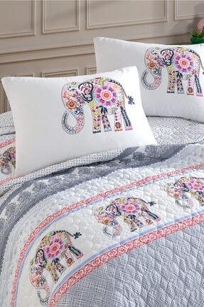 Cotton Touch Beyaz Gloria Çift Kişilik Kapitone Yatak Örtüsü Takımı 1
