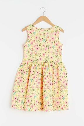 LC Waikiki Kız Çocuk Açık Sarı Baskıl Lu9 Elbise 1