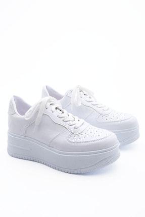 Marjin Kadın Sneaker Dolgu Topuk Spor Ayakkabı PinleBeyaz 2